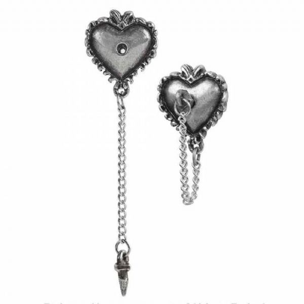 ALCHEMY GOTHIC Witches Heart Stud Earrings